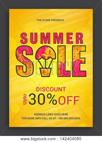 Yellow glossy, Summer Sale Flyer, Sale Poster, Sale Banner, Sale Pamphlet, Discount Upto 30% Off, Vector Sale Illustration with Hot Air Balloon.