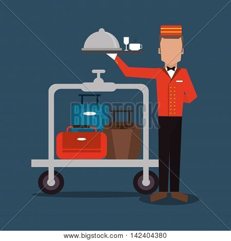 bellboy baggage luggage hotel service icon. Colorfull and flat illustration, vector
