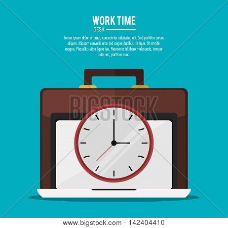 laptop suitcase clock office work time supply icon. Colorfull and flat illustration, vector