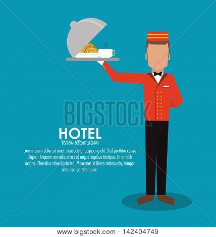bellboy waiter menu plate room service hotel icon. Colorfull and flat illustration, vector