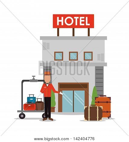 bellboy baggage luggage building hotel service icon. Colorfull and flat illustration, vector