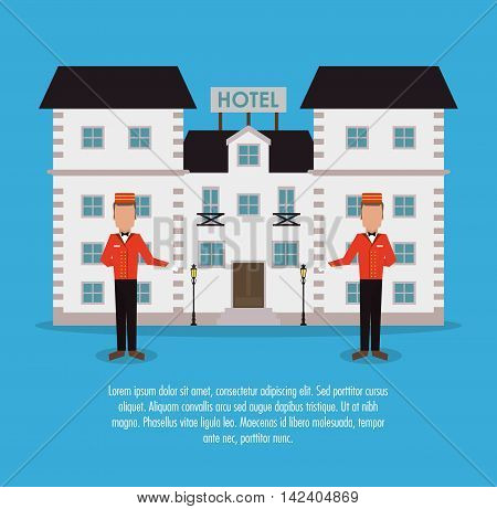 building bellboy hotel service icon. Colorfull and flat illustration, vector