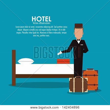 bellboy bed baggage luggage room hotel service icon. Colorfull and flat illustration, vector