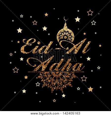 Golden glittering, Arabic Islamic Calligraphy Text Eid-Al-Adha with floral design Mosque on stars decorated background for Muslim Community, Festival of Sacrifice Celebration. Vector illustration.