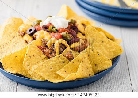 Beef Nachos With  Jalapeno, Olives, Tomato, Beans Cheddar Cheese And Sour Cream