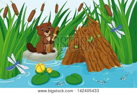 Illustration of a beaver hut on the pond with a beaver
