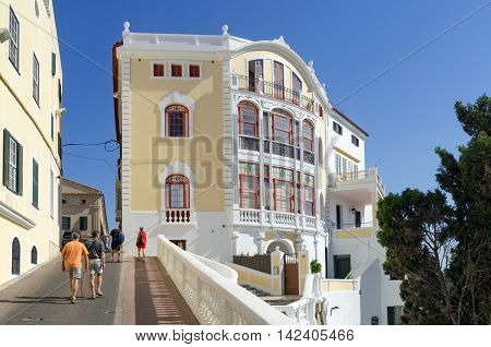 Mahon/Spain. 21st June 2012. Tourists wander the streets and lanes of the Menorcan capital of Mahon a warm summer's day.