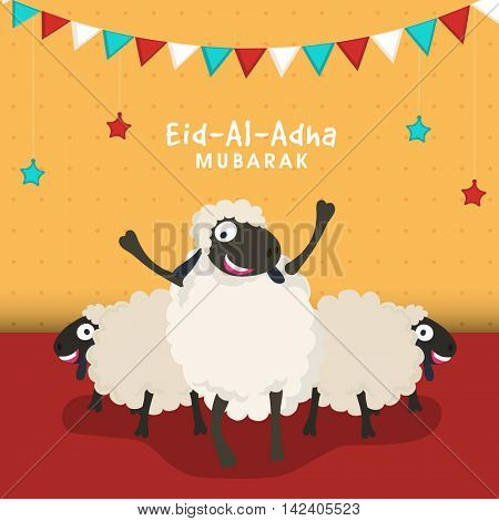 Muslim Community, Festival of Sacrifice, Eid-Al-Adha Mubarak with illustration of Sheeps, Vector greeting card design.