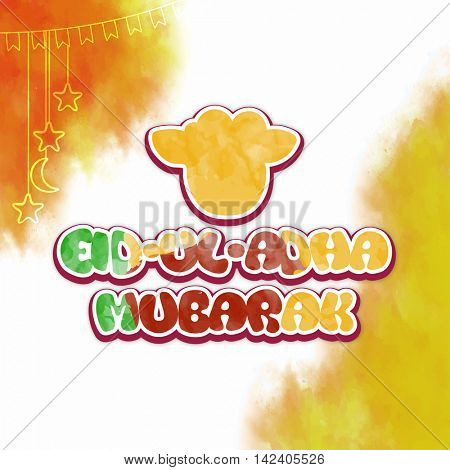 Colorful text Eid-Ul-Adha Mubarak with Sheep Face on abstract background for Muslim Community, Festival of Sacrifice Celebration.