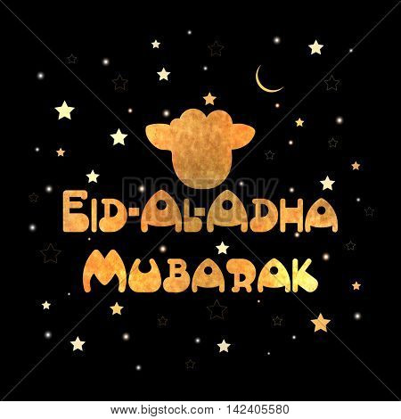 Stylish Text Eid-Al-Adha Mubarak with Sheep Face on stars and moons decorated background for Muslim Community, Festival of Sacrifice Celebration. Vector greeting card design.