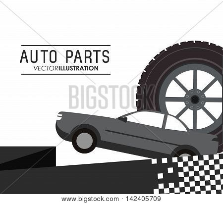 wheel tire auto parts vehicle car repair machine garage icon. Isolated and flat illustration