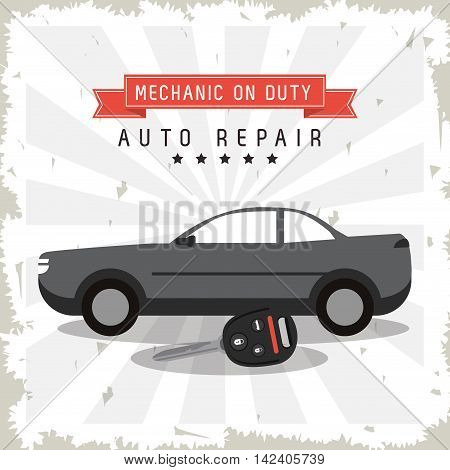 key auto parts vehicle car repair machine garage icon. Isolated striped and grunge illustration