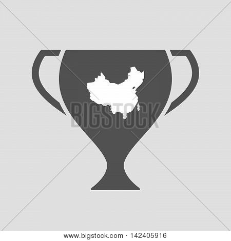 Isolated Award Cup Icon With  A Map Of China
