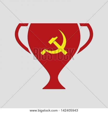 Isolated Award Cup Icon With  The Communist Symbol