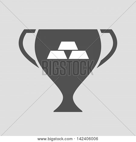 Isolated Award Cup Icon With Three Gold Bullions