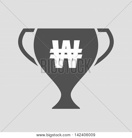 Isolated Award Cup Icon With A Won Currency Sign