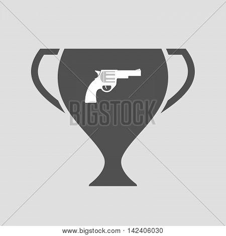 Isolated Award Cup Icon With A Gun