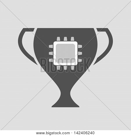 Isolated Award Cup Icon With A Cpu