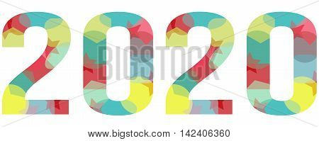 2020 year abstract colorful logo isolated on white