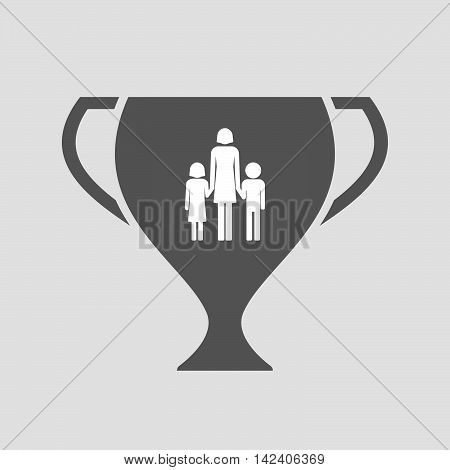 Isolated Award Cup Icon With A Female Single Parent Family Pictogram