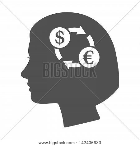 Isolated Female Head Silhouette Icon With A Dollar Euro Exchange Sign
