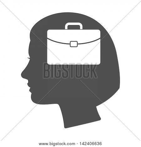 Isolated Female Head Silhouette Icon With  A Briefcase