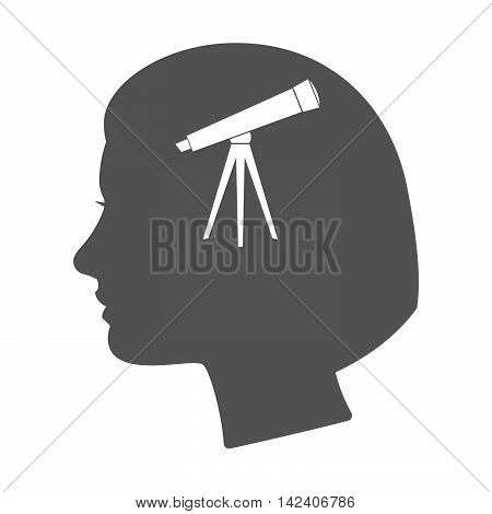Isolated Female Head Silhouette Icon With A Telescope