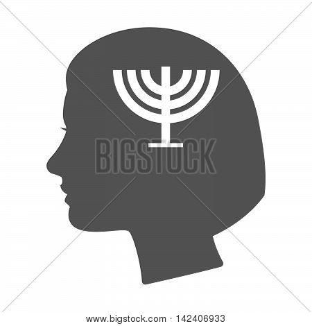 Isolated Female Head Silhouette Icon With A Chandelier