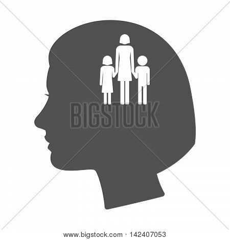 Isolated Female Head Silhouette Icon With A Female Single Parent Family Pictogram