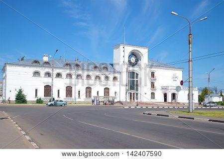 VELIKY NOVGOROD RUSSIA - JUNE 02 2016: View of the building of the railway station on a sunny june day. Historical landmark of the city Velikiy Novgorod, Russia