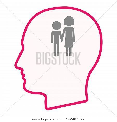 Isolated Male Head Silhouette Icon With A Childhood Pictogram