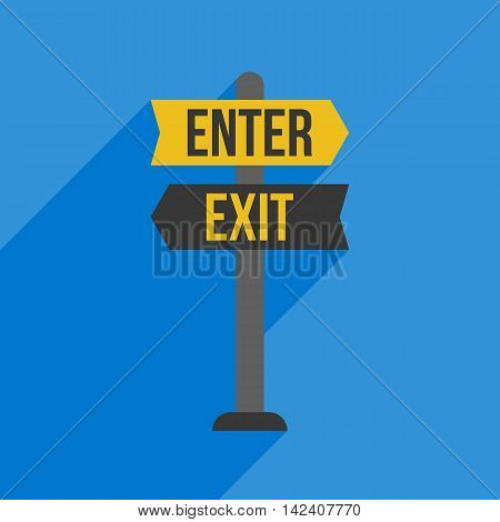 Enter and Exit sign post, flat design