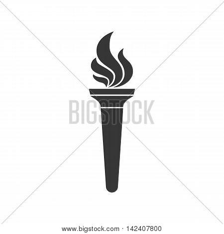 Torch symbol silhouette icon vector, flat design