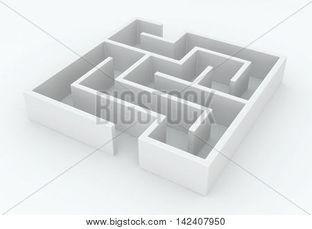 White abstract small labyrinth object 3d illustration horizontal