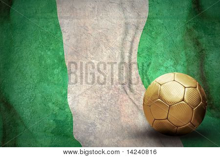 Grunge flag of Nigeria and ball