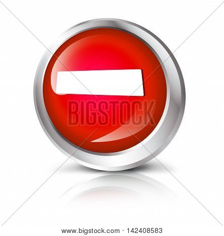 3D illustration. Glossy icon or button with minus symbol. Do not enter.