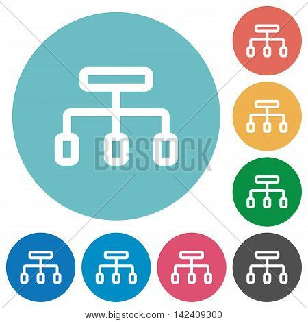 Flat connect icon set on round color background.