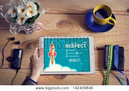 Laptop Computer, Tablet Pc And Respect Concept