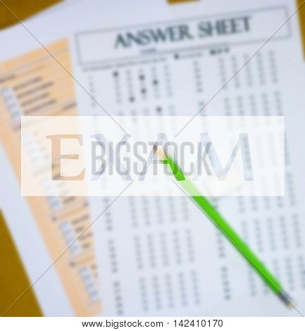 top view of blur english  questions and answer sheet with text box