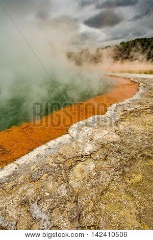 Wai-O-Tapu near Rotorua New Zealand geology geothermal