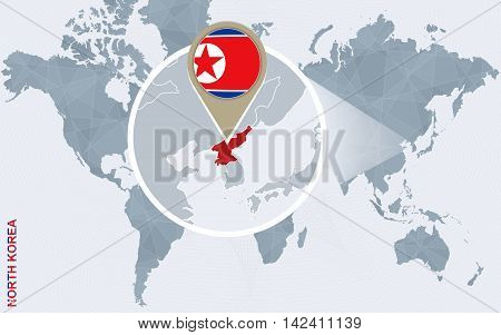 Abstract Blue World Map With Magnified North Korea.
