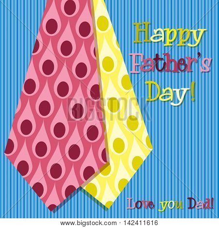 Bright Peacock Design Happy Fathers Day Neck Tie Card