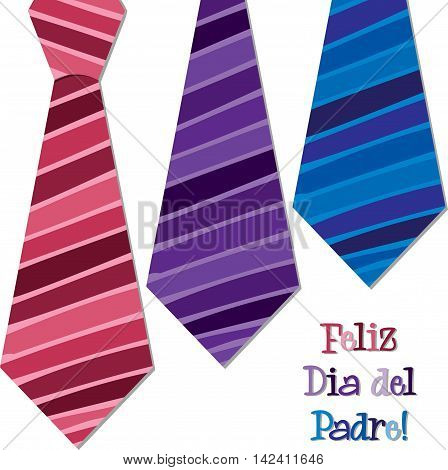 Bright Spanish Happy Fathers Day Neck Tie Card