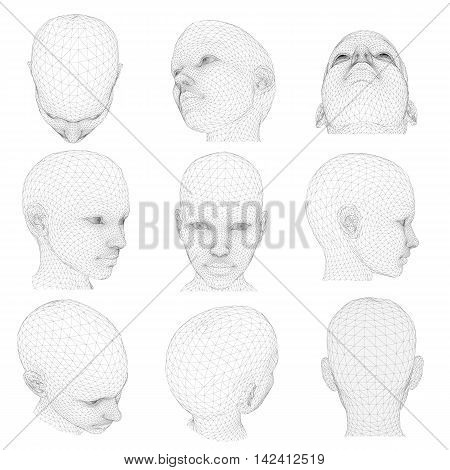 Set of girl's head from different angles. Vector illustration. 3D.