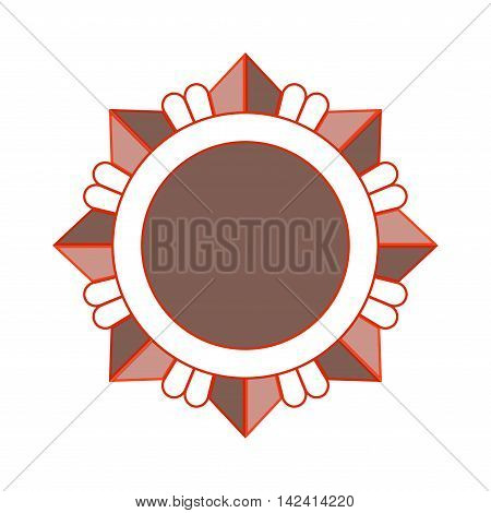 Medal award icon. Bronze star order isolated on white background. Medallion design element. Metallic emblem. Blank for certificate winner decoration. Symbol first success win Vector illustration