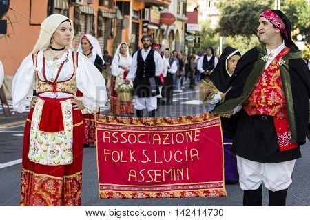 SELARGIUS, ITALY - September 13, 2015: Former marriage Selargino - Sardinia - Saint Lucia parade of the folk group of Assemini