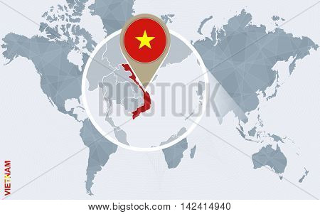 Abstract Blue World Map With Magnified Vietnam.