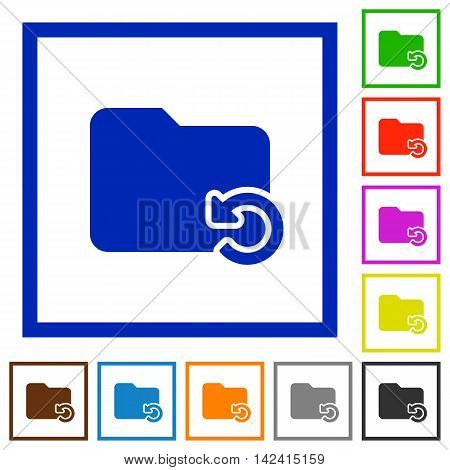 Set of color square framed Undo folder operation flat icons