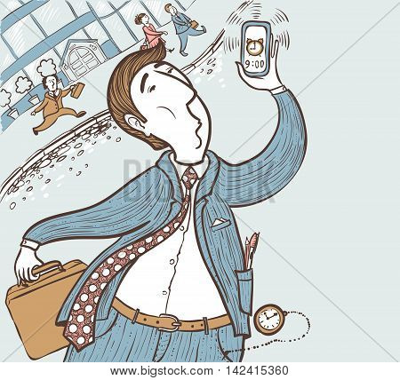 Running businessman late for deadline hand-drawing vector illustration color version