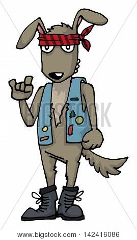 Rock and roll, heavy metal dog character, with bandanna, and denim vest, vector illustration, isolated on white